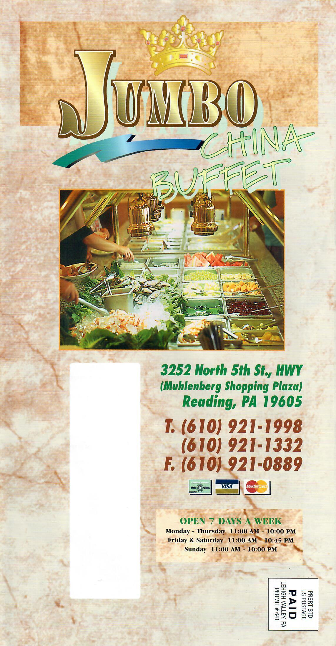 Jumbo Buffet menu