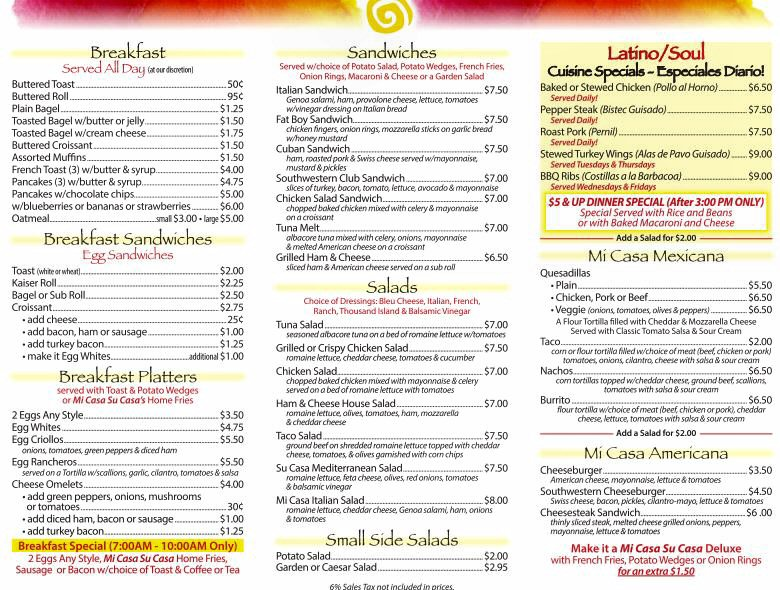 Su Casa Mexican Restaurant Menu